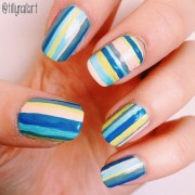 Beach towel stripe nails