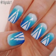 Blue gradient white spike nails