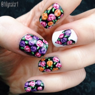 Floral and heart cut out nails
