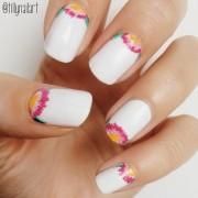 Floral half moon nails