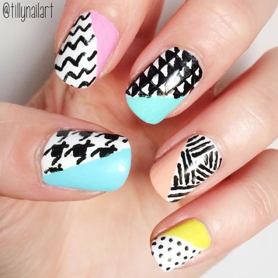 Retro Geometric Nails