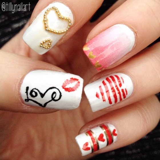 Valentine's Day Love Nails