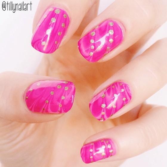 Pink watermarble nails