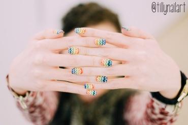 Rainbow Gradient Polka Dot Nails